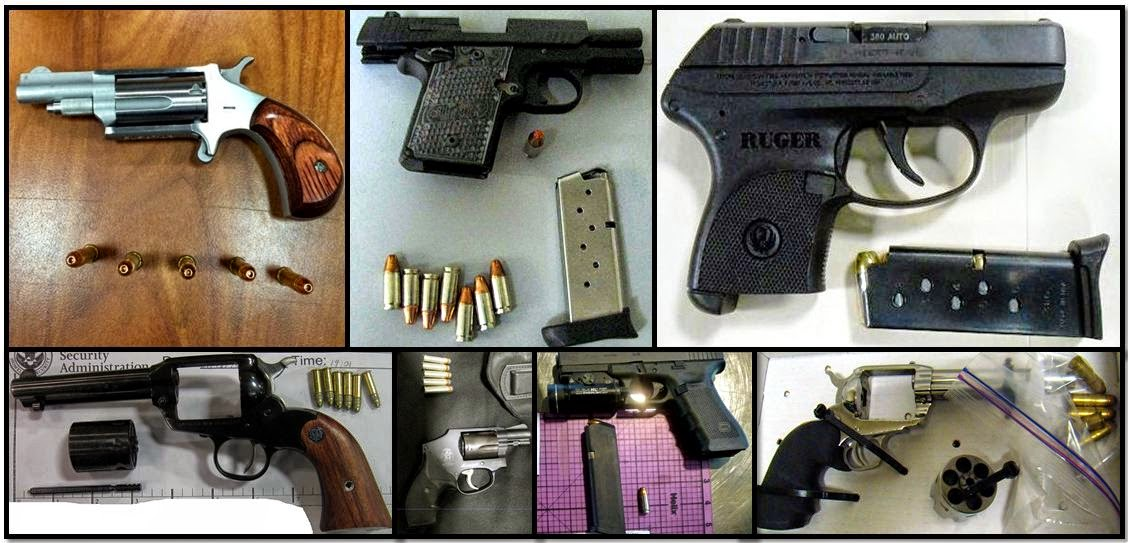 Clockwise from top left corner, firearms discovered at: ATL, LEX, CHO, CID, SMF, BOI & BIL