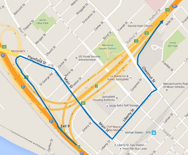 Map shows the detour drivers will have to take from I-91 northbound to get onto I-291 westbound. Image courtesy: Mass DOT