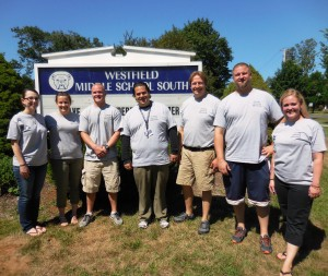 South Middle School Edventure staff included (l-r) Emily Doucette, Jackie Ayr, Steve Dowd, Luke Baillargeon, Matt Preye. and co-leaders Neil Barnet and Kate Palmer. (Photo by Amy Porter)