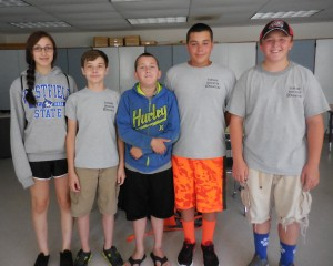 (L-R) Mairi Tumavicus, Tim Nacewicz, Nate Whalen, Tucker Carey and Noah Gardner formed the Westfield Intramurals group as their summer camp project, which will be offering intramural sports games on Tuesdays and Thursdays, 5:30 to 7:00 p.m....