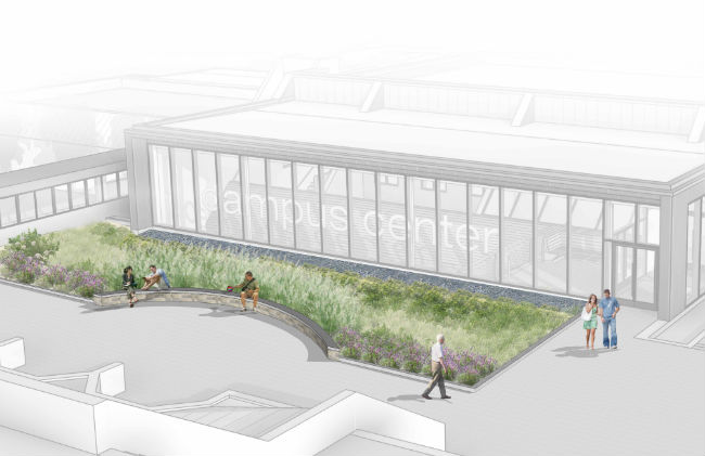 The new atrium to be built over what is now an external stairwell off the Holyoke Community College Courtyard. (Image Courtesy: HTK Architects)
