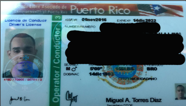 U.S. Marshals spokesperson Dave Milne says that Luis Lebron-Rivera presented police with this fake ID which included his picture. Image Courtesy: U.S. Marshals Service