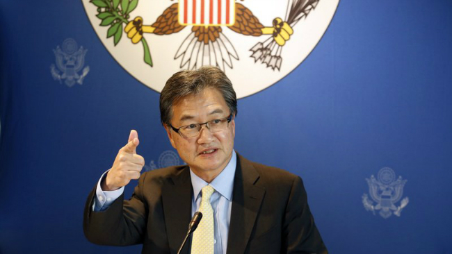 FILE - In this Dec. 15, 2017, file photo, U.S. special envoy for North Korea policy Joseph Yun speaks to media in Bangkok, Thailand. In the first month of Donald Trump's presidency, Yun, an American foreign policy scholar, quietly met with North...