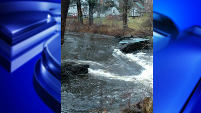 Scantic River Dam breaks, releasing water into nearby area
