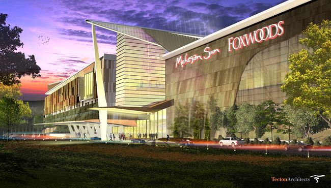 Artistic rendering of the proposed joint Mohegan-Mashantucket Pequot gaming facility in East Windsor, Connecticut. Image Courtesy: MMCT Venture