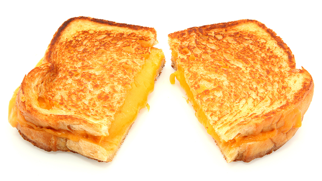 Grilled Cheese Sandwich Isolated On White_1555071420783
