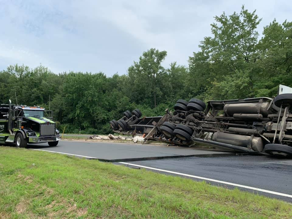 Crews clear tractor-trailer rollover in West Springfield