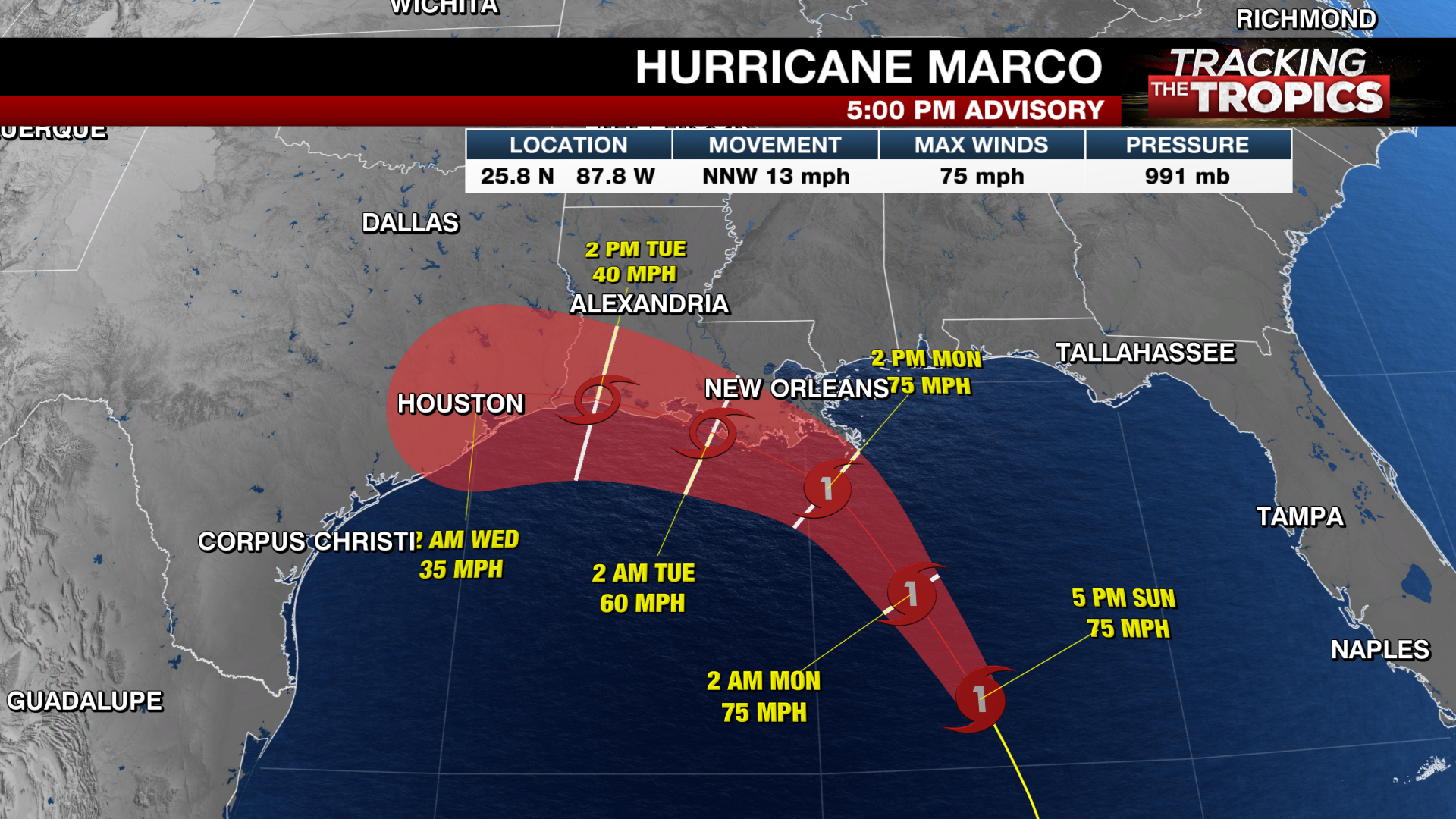 Tracking The Tropics Marco Weakens To Tropical Storm As It Moves Over The Gulf Laura Continues To Strengthen Wwlp