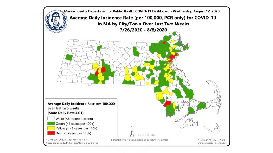 New Covid 19 Map Shows Case Numbers In Each City And Town In Massachusetts In The Last 14 Days Wwlp