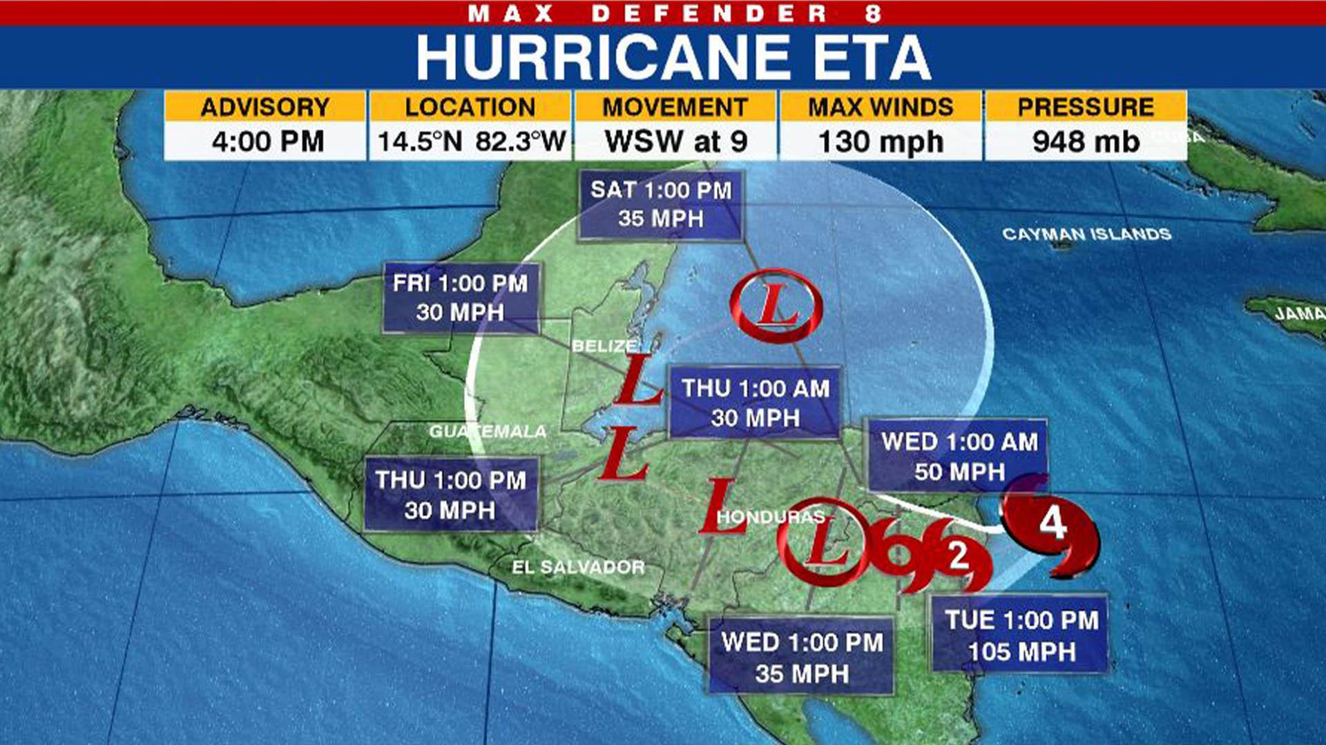 Tracking The Tropics Eta Reaches Category 4 Strength Wwlp