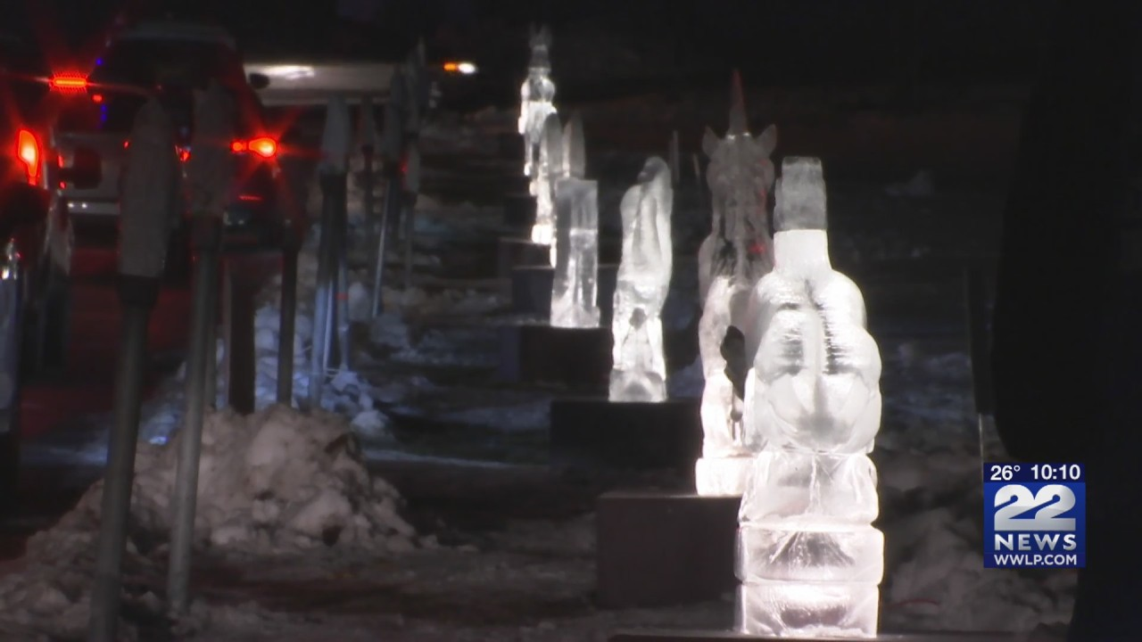 Ice sculptures on display at Amherst Town Common