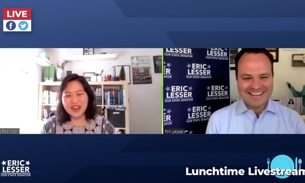 State Senator Eric Lesser interviews State Rep Maria Robinson on Asian American issues.