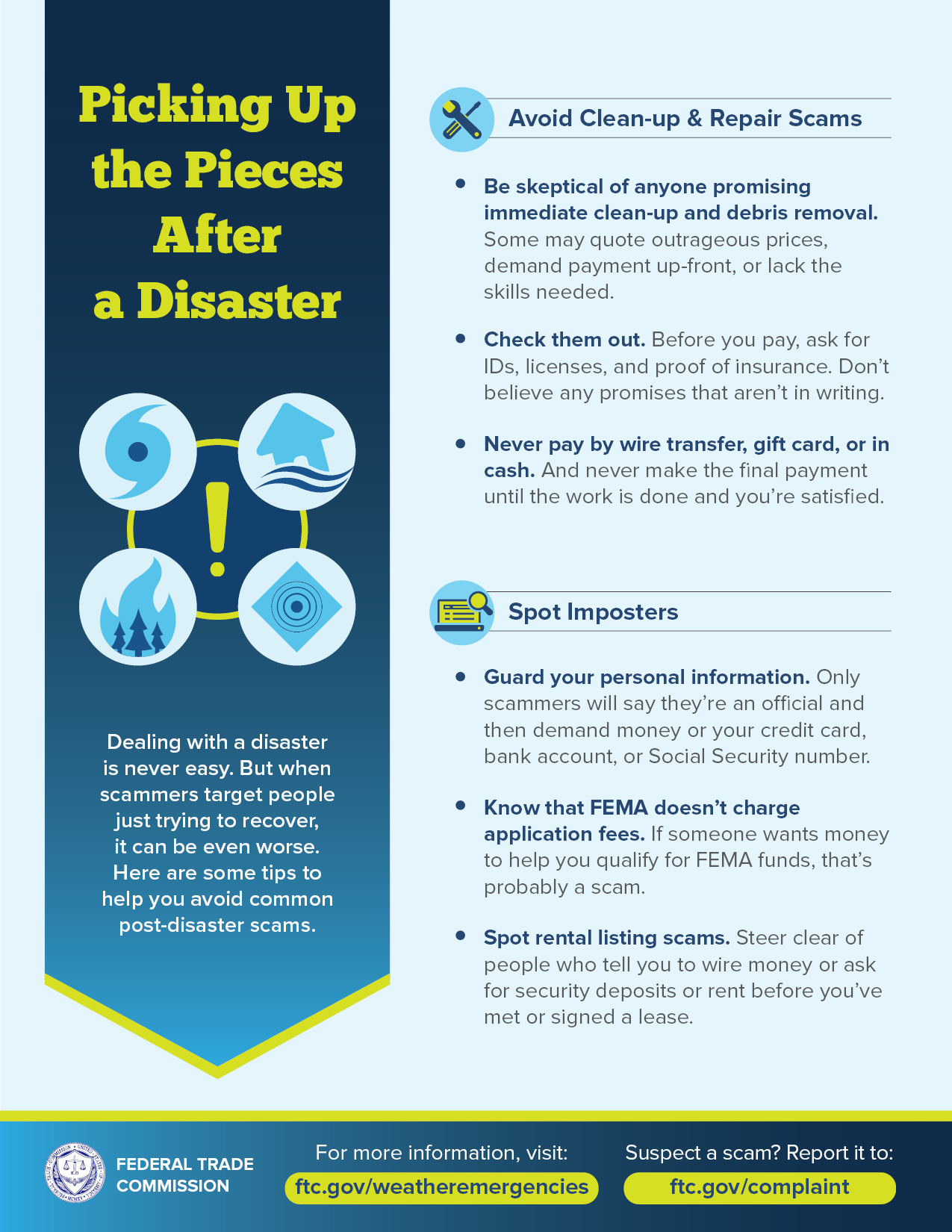 FTC disaster recovery scams